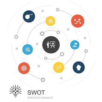 シンプルなアイコンでswot色の円の概念。強さ、弱さ、機会、脅威などの要素が含まれています