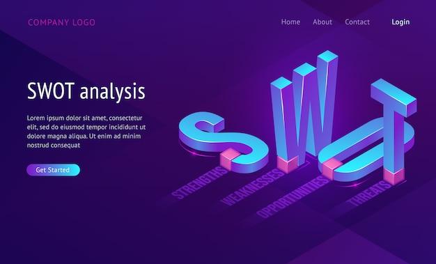 Swot изометрической целевой страницы с сокращением слов анализ, сильные стороны, слабые стороны, возможности, угрозы. бизнес-концепция, 3d буквы стоя и лежа на фиолетовом фоне, веб-баннер