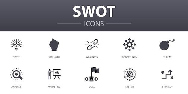 Swotシンプルなコンセプトアイコンを設定します。強み、弱み、機会、脅威などのアイコンが含まれており、web、ロゴ、ui / uxに使用できます