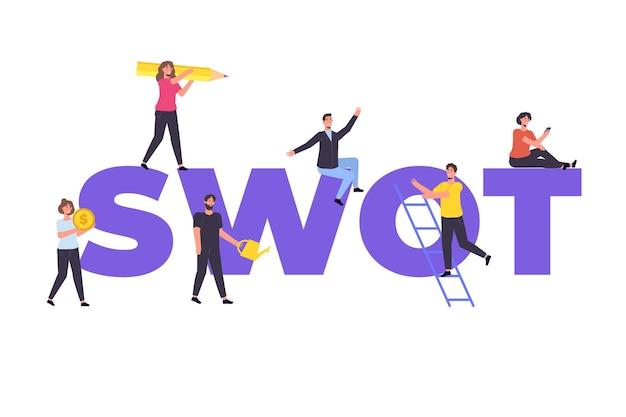 Swotの長所、短所、脅威、および会社コンセプトの機会。