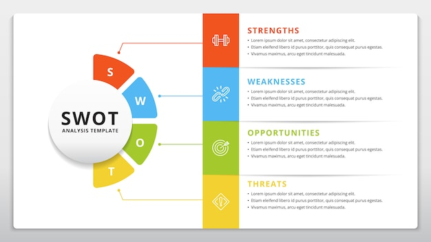 Swot 템플릿 또는 전략 계획 인포 그래픽 디자인
