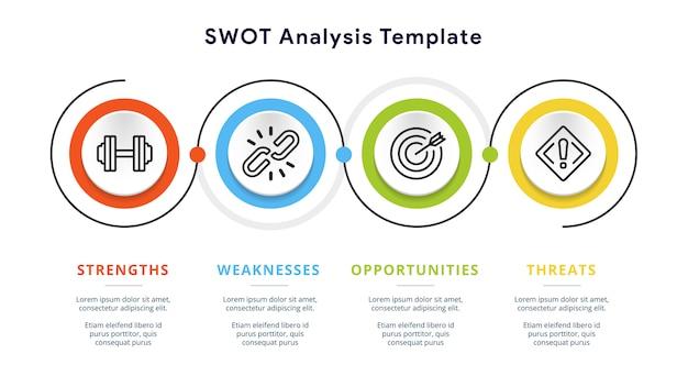 Swotテンプレートまたは戦略的計画のインフォグラフィックデザイン