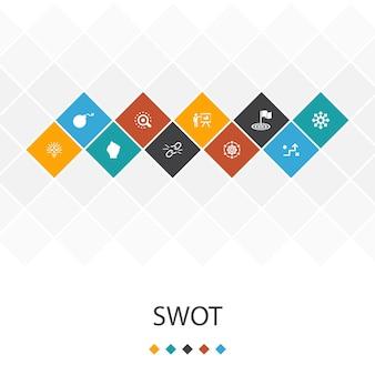 Swotトレンディなuiテンプレートのインフォグラフィックの概念。強さ、弱さ、機会、脅威のアイコン