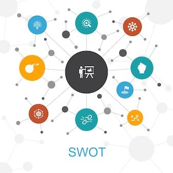アイコン付きのswotトレンディなウェブコンセプト。強さ、弱さ、機会、脅威などのアイコンが含まれています