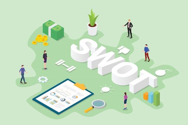 Концепция бизнес-анализа swot с командой людей офиса с плоским современным изометрическим стилем