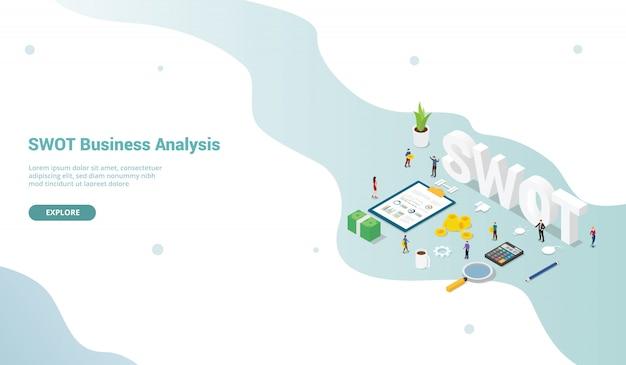 Концепция бизнес-анализа swot с людьми команды для шаблона веб-сайта или целевой страницы