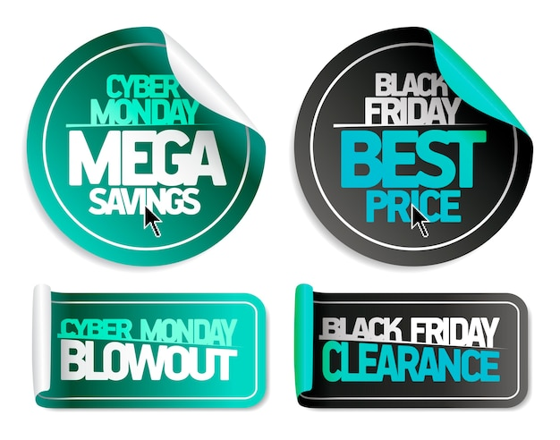 Syber monday mega savings, syber monday blowout, black friday best price and black friday clearance -  sale stickers set