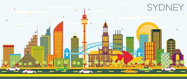 Горизонты города сидней австралия с цветными зданиями и голубым небом. векторные иллюстрации. деловые поездки и концепция туризма с современной архитектурой. сиднейский городской пейзаж с достопримечательностями.