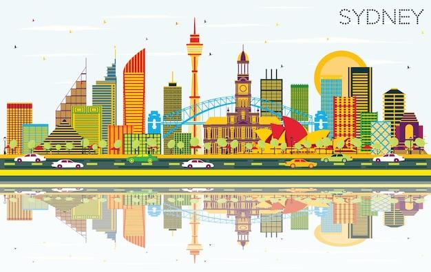 Горизонты города сидней австралия с цветными зданиями, голубым небом и отражениями. векторные иллюстрации. деловые поездки и концепция туризма с современной архитектурой. сиднейский городской пейзаж с достопримечательностями.