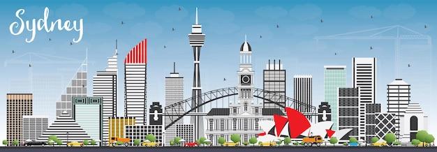 Горизонт сиднея австралии с серыми зданиями и голубым небом. векторные иллюстрации. деловые поездки и концепция туризма с современной архитектурой. изображение для презентационного баннера и веб-сайта.