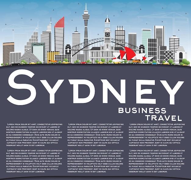 Горизонт сиднея австралии с серыми зданиями, голубым небом и копией пространства. векторные иллюстрации. деловые поездки и концепция туризма с современной архитектурой.