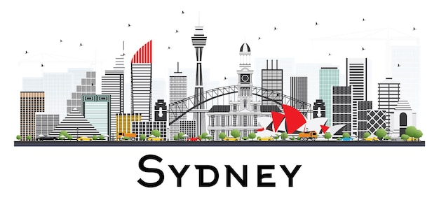 Горизонт сиднея австралии с серыми зданиями, изолированными на белом фоне. векторные иллюстрации. деловые поездки и концепция туризма с современной архитектурой.