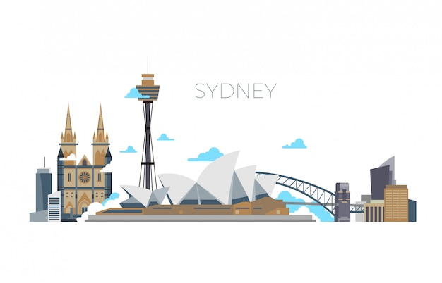 Sydney city  panorama, australia travel landmark in flat style