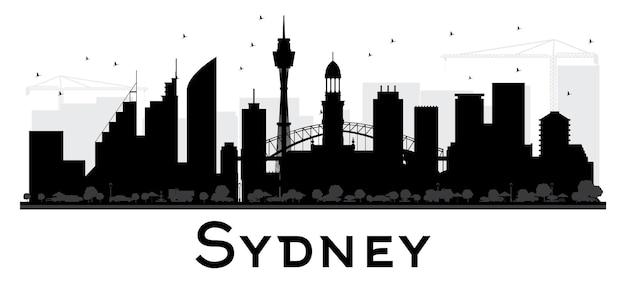 Сидней сити горизонт черно-белый силуэт. векторная иллюстрация. простая плоская концепция для туристической презентации, баннера, плаката или веб-сайта. концепция деловых поездок. городской пейзаж с достопримечательностями.