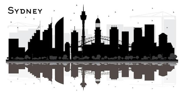 Силуэт горизонта города сиднея с черными зданиями и размышлениями. векторные иллюстрации. деловые поездки и концепция туризма с современной архитектурой. сиднейский городской пейзаж с достопримечательностями.
