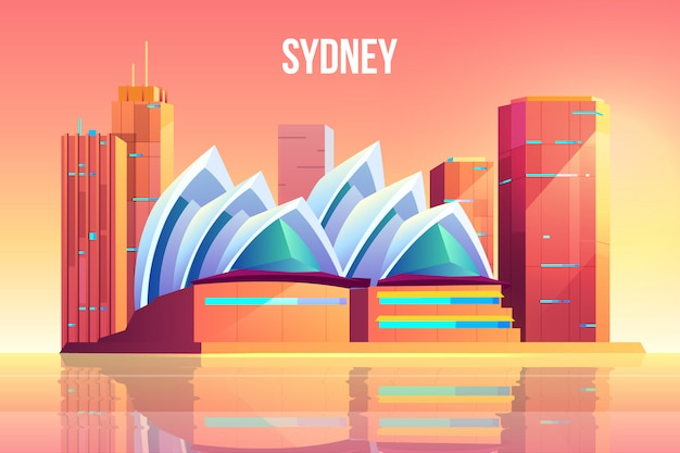 Sydney city with opera theater skyline, australia