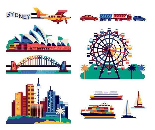 Сиднейский оперный театр, мост харбор-бридж, достопримечательность города. плоский рисунок.