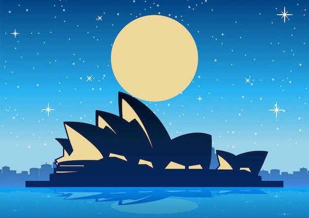 Сиднейский оперный театр в ночное время и большая луна