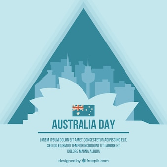 Sydney opera house with buildings to celebrate australia day