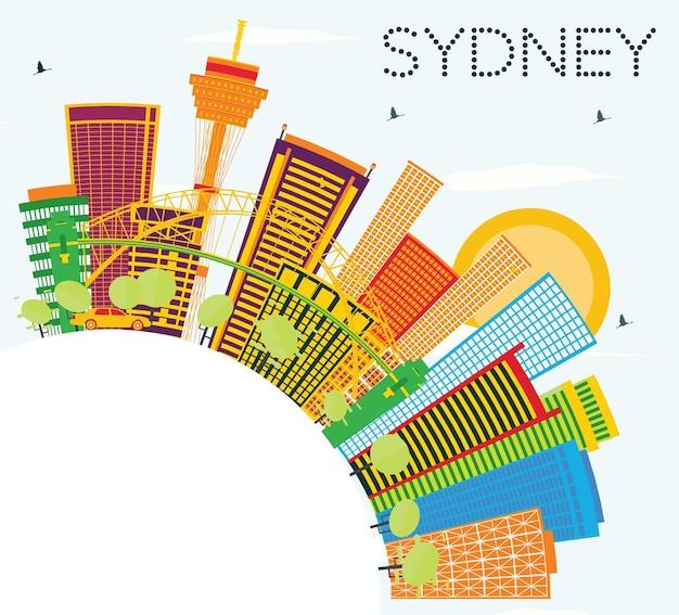 Горизонт сиднея с цветными зданиями, голубым небом и копией пространства. векторные иллюстрации. деловые поездки и концепция туризма с современной архитектурой. изображение для презентационного баннера и веб-сайта.