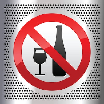 Symbol alcohol on a metallic perforated stainless steel sheet