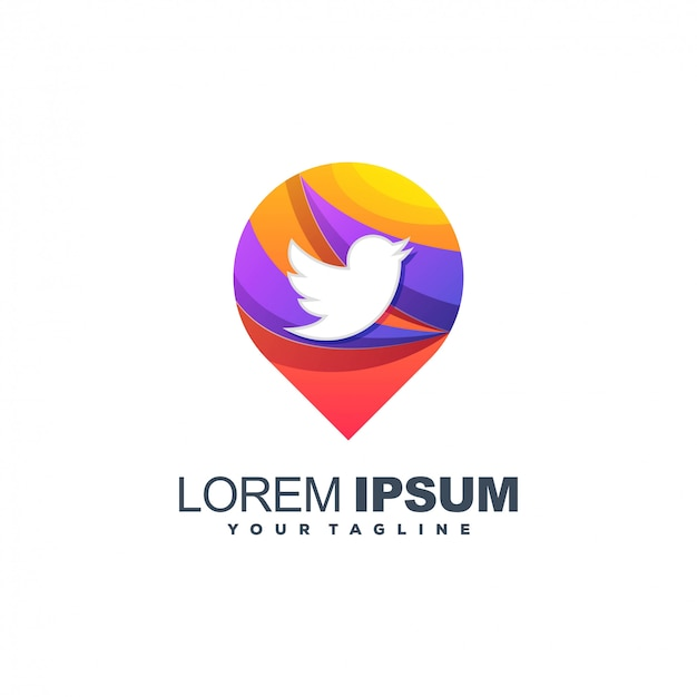 Symbol bird twitter color logo