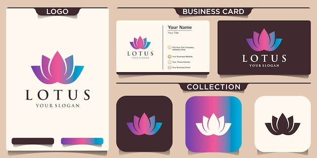 Symbol colorful lotus flower logo and business card design