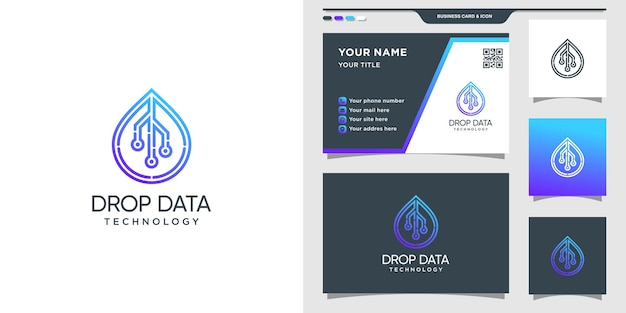 Symbol of droplet data in line art style for technology. set of logo and business card design
