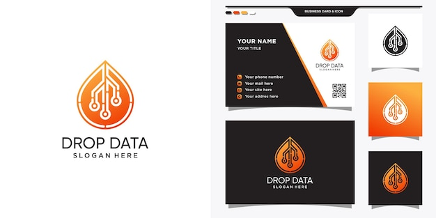 Symbol of droplet data in line art style for technology. set of logo and business card