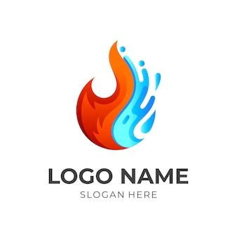 シンボルの火とドロップのロゴの組み合わせ、カラフルなスタイル