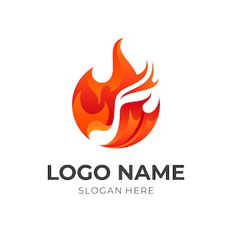 Symbol fire logo and melody icon vector, colorful style