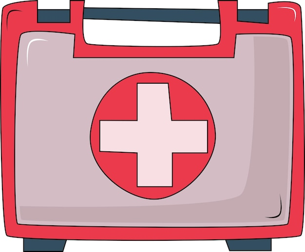 The symbol of the first aid kit for medicines a red suitcase with medical equipment