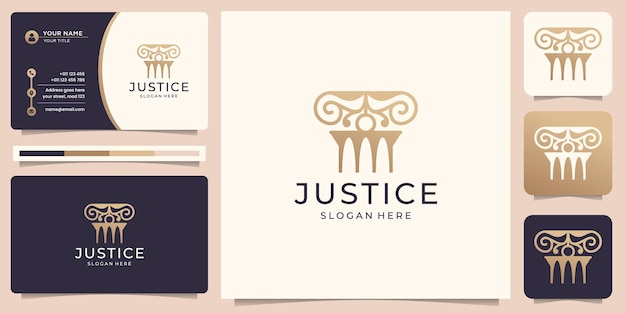 Symbol of the justice law law firm logo pillar gold design element and business card template premium vector