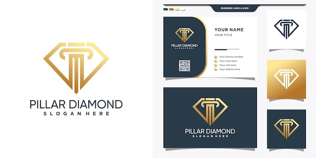 Symbol of law combined with diamond logo in line art style and business card design premium vector