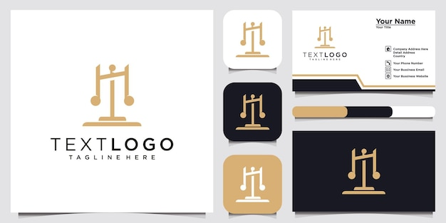 Symbol lawyer attorney advocate template linear style and business card