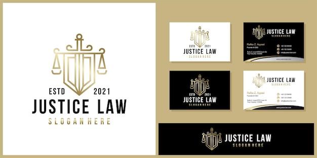 기호 변호사 변호사 옹호 템플릿 선형 스타일 회사 로고 및 명함