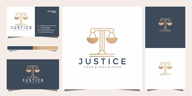 Symbol lawyer attorney advocate template linear style company logotype and business card.