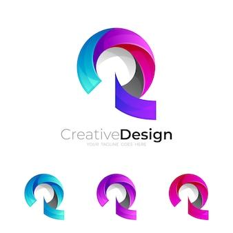 3dカラフルでモダンなスタイルのシンボル文字rロゴ