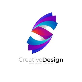 シンボル文字sロゴと3dカラフル、sアイコンベクトル