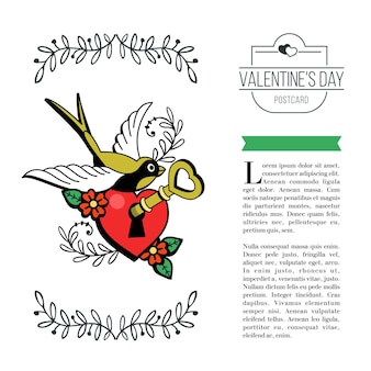 A symbol of love. heart with a key and a bird. vector illustration in retro style. isolated on white background. there is a place for your text. on valentine's day.