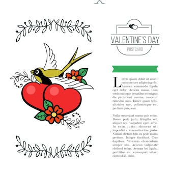 A symbol of love. two loving hearts and a bird. vector illustration in retro style. isolated on a white background. there is a place for your text. for valentine's day.