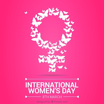 Symbol made up og butterfly woman day background