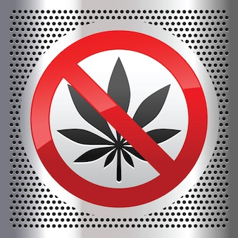 Symbol marijuana on a metallic perforated stainless steel sheet