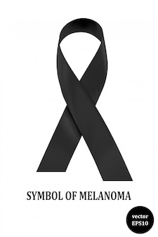 Symbol of melanoma. black ribbon - a sign of condolence. vector illustration