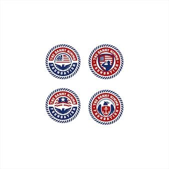 Symbol military with eagle logo design template