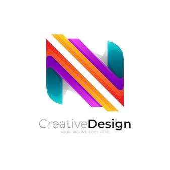 シンボルnロゴデザインカラフルな3dスタイル
