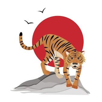 붉은 태양의 배경에 호랑이 중국 호랑이의 2022 년의 상징