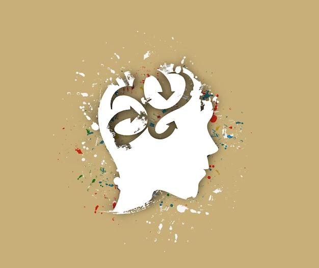 창조적 인 두뇌, 고립 된 벡터 디자인의 상징