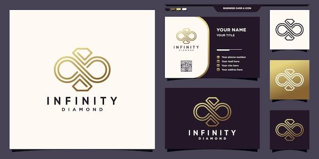 독특한 선형 스타일과 명함 디자인이 있는 무한대와 다이아몬드 로고의 상징 premium vector