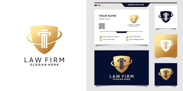 Символ закона логотип с щитом и дизайн визитной карточки.